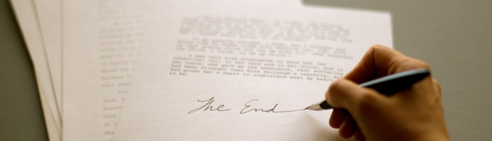 "manuscript with ""The End"""
