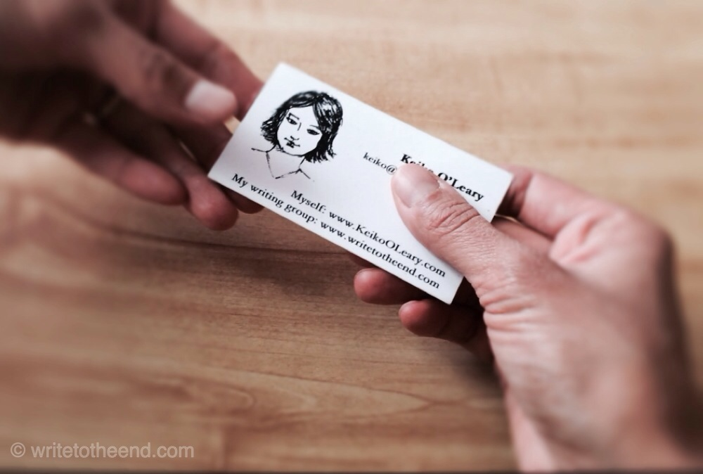hand receiving business card