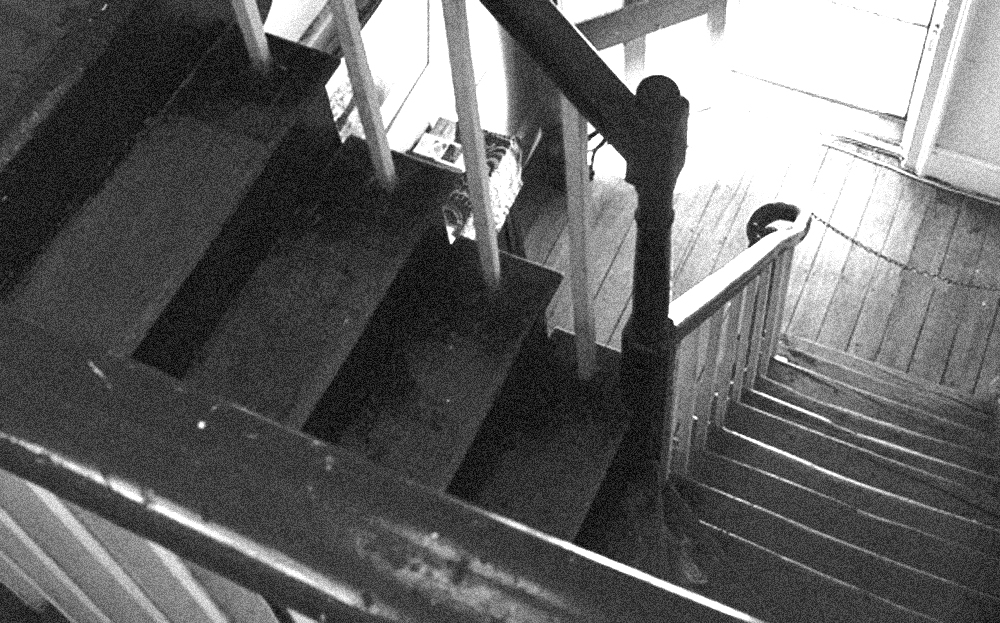 black and white photo of descending stairs