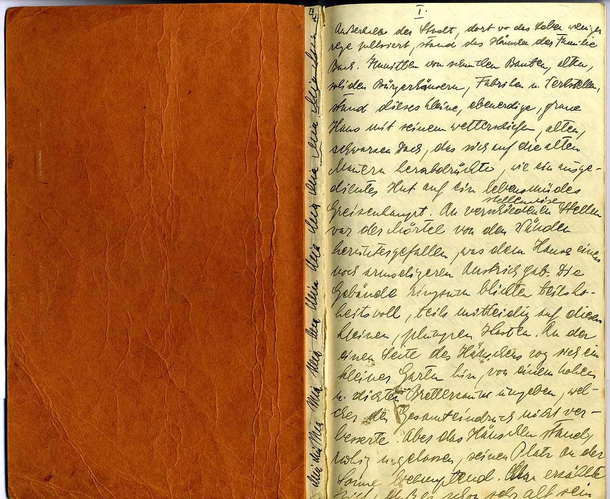 leather journal with handwritten text