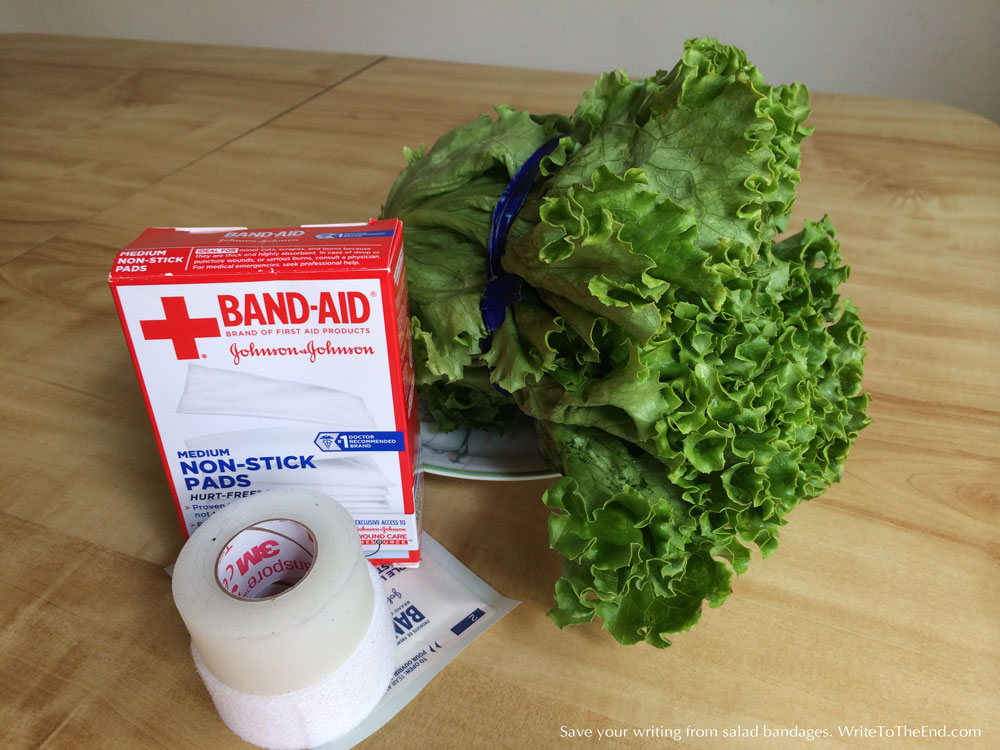 photo of lettuce and bandages