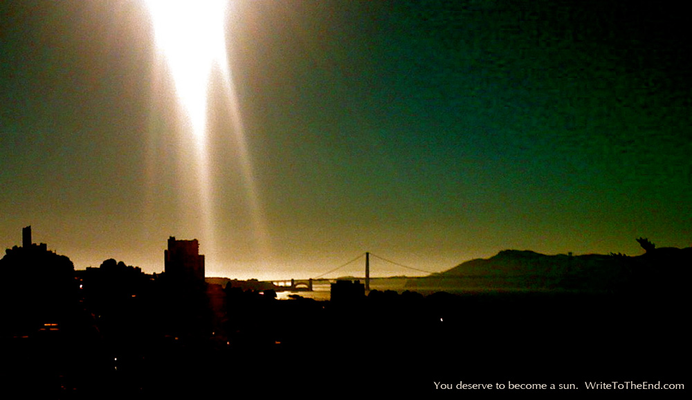 Sun streak illuminating the sea from above; San Francisco dark in foreground
