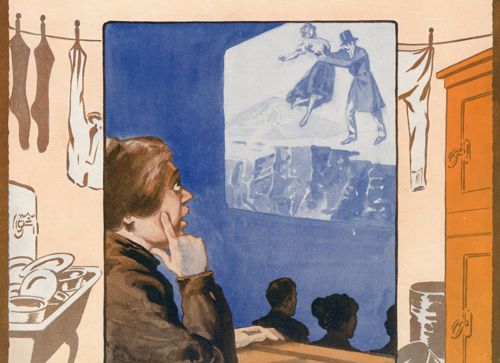 illustration of a woman watching a movie