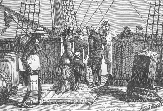 line drawing of people boarding a sailing ship