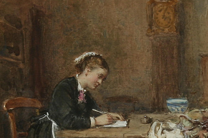 painting of a girl writing with a quill pen