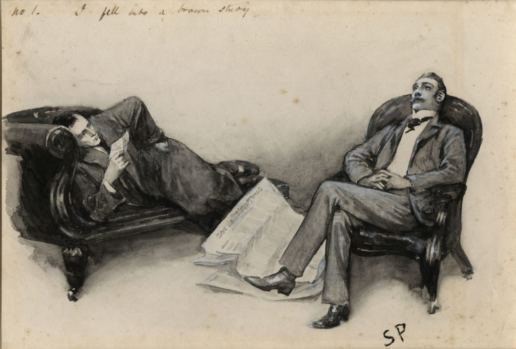 Holmes and Watson lying around on chairs, a newspaper between them.